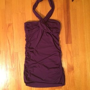 le chateau Dark Purple Halter Tie Dress